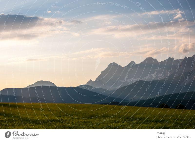 sanftes Abendlicht Natur Ferien & Urlaub & Reisen Sommer Landschaft ruhig Ferne Berge u. Gebirge Umwelt Wärme Traurigkeit Wiese Freiheit Felsen träumen