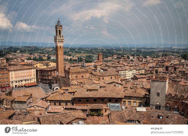 vom Flugzeug aus... Himmel Ferien & Urlaub & Reisen Stadt Sommer Haus Ferne Horizont Wetter Tourismus Ausflug Klima Platz Italien Dach Turm Wahrzeichen