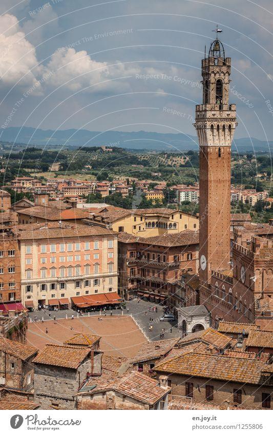 Piazza del Campo Himmel Ferien & Urlaub & Reisen Stadt alt Sommer Wolken Umwelt Horizont Tourismus hoch Ausflug Platz Italien Turm Fernweh Wahrzeichen