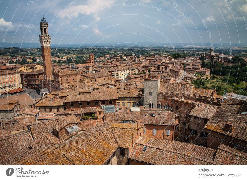 übersichtlich Himmel Ferien & Urlaub & Reisen Stadt alt Sommer Wolken Haus Ferne Gebäude Horizont Tourismus Italien Dach Turm historisch Skyline