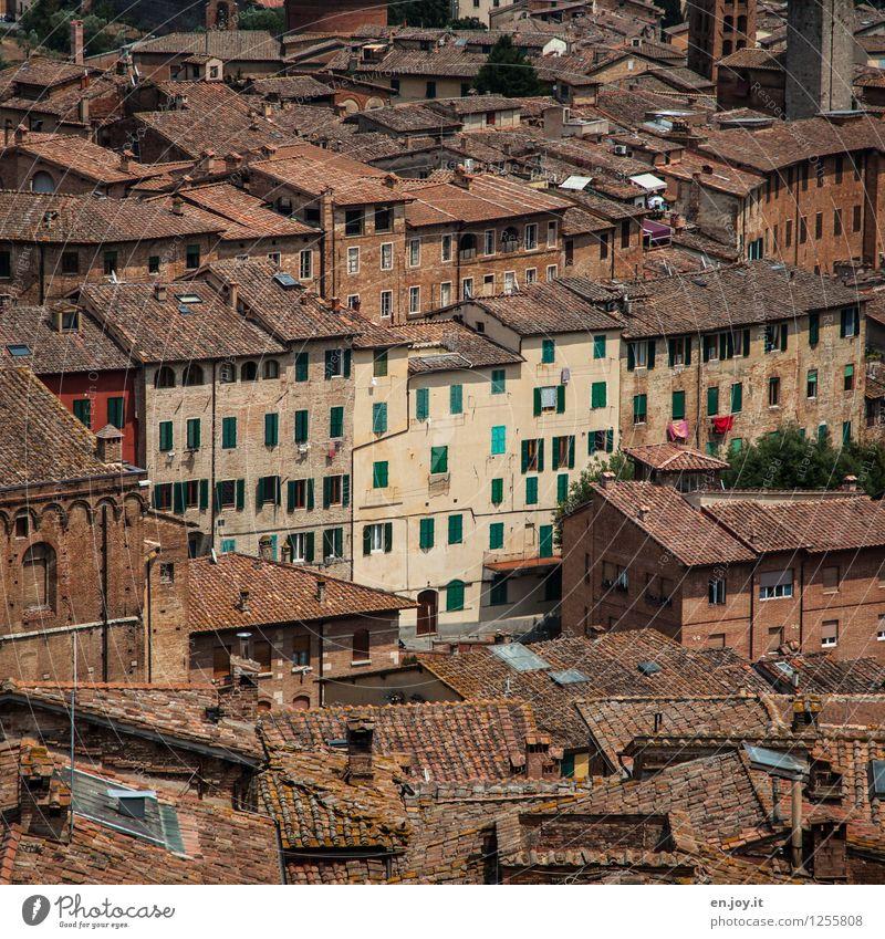 Lebensgemeinschaft Ferien & Urlaub & Reisen Stadt alt Sommer Haus Ferne Umwelt braun Stadtleben Tourismus Häusliches Leben Aussicht Vergänglichkeit Italien Dach
