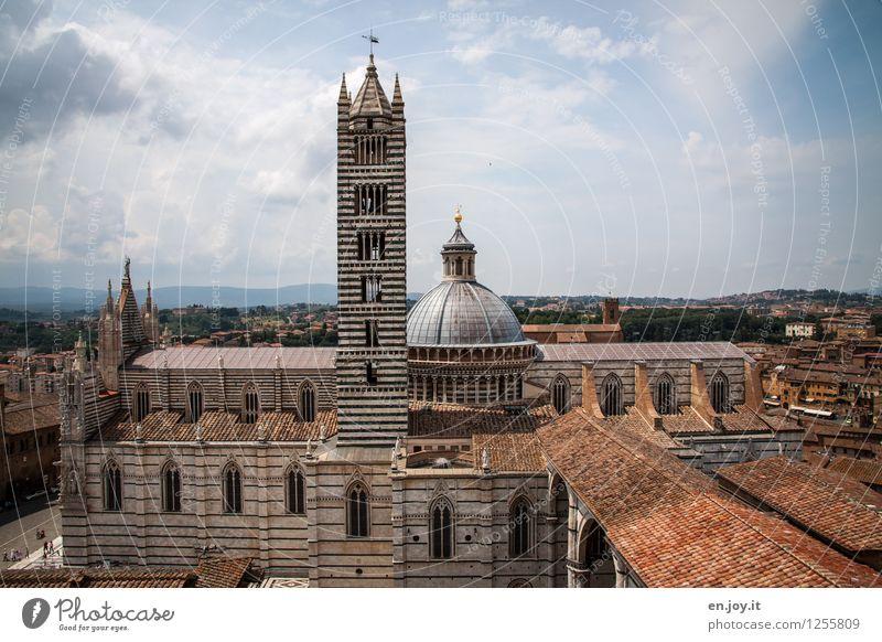 Cattedrale di Santa Maria Assunta Ferien & Urlaub & Reisen Tourismus Sightseeing Städtereise Sommer Sommerurlaub Himmel Gewitterwolken Horizont Siena Toskana