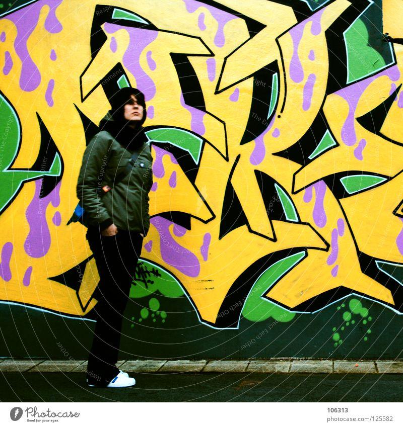 ADDICTED mehrfarbig Frau gelb grün stehen gepresst Hiphop grell Lifestyle Stil Plattencover Briefumschlag graphisch sehr wenige zart Hintergrundbild frisch