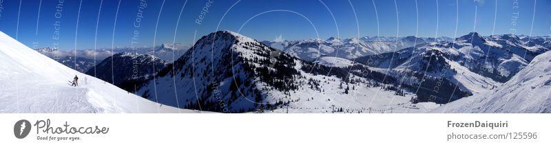 Windauberg Panorama (Westendorf) Panorama (Aussicht) Skifahrer Bundesland Tirol Winter Wintersport Österreich Natur Himmel Schnee Ferne Berge u. Gebirge