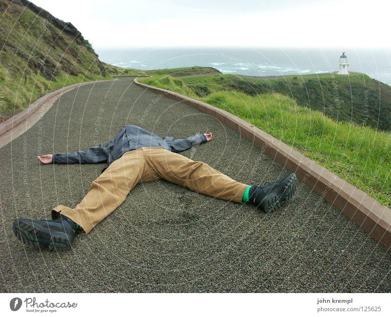 das überwältigende nordkap neuseelands Nordkap Neuseeland Nordinsel Meer Wellen Leuchtturm Klippe Pazifik schlafen Halbschlaf Wahrzeichen Denkmal Strand Küste