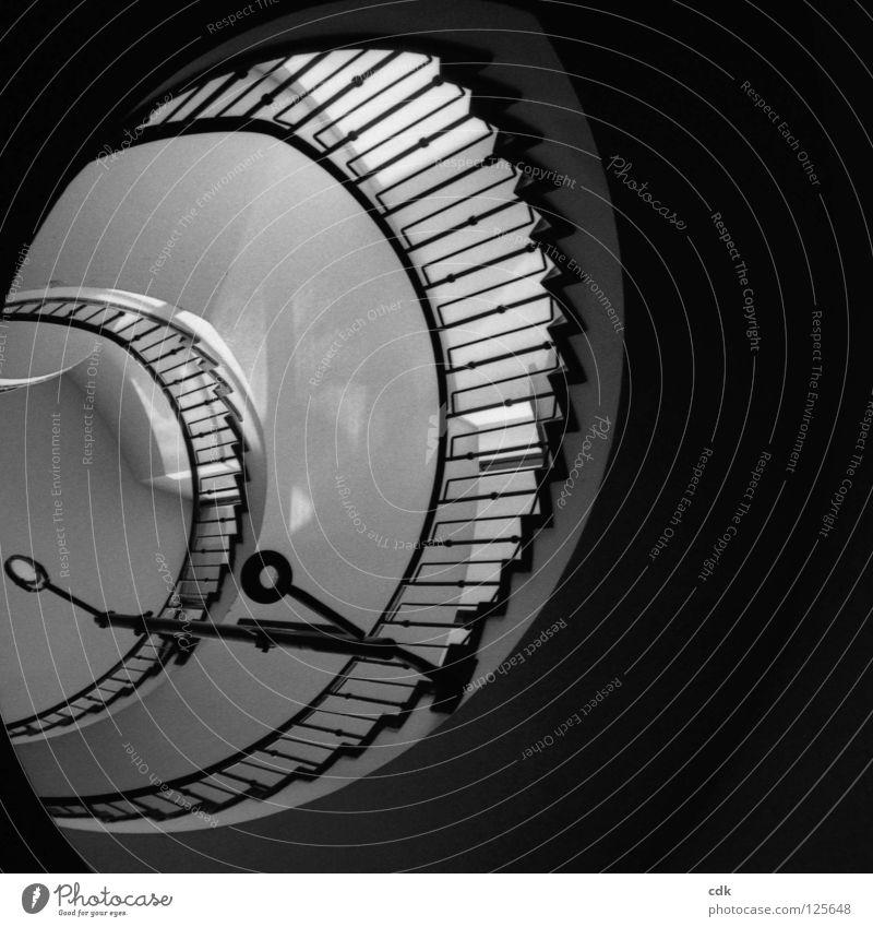 Innenansichten I Treppenhaus Treppengeländer Flur Gebäude Haus Wand Eisen Beton weiß schwarz Muster rund Schwung gekrümmt Richtung Etage tief klein groß