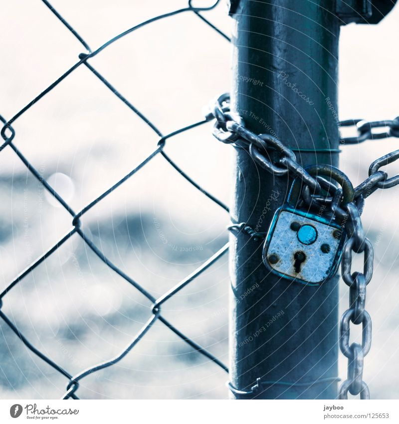 Kein Ausweg weiß blau Wiese geschlossen Schloss Zaun Kette gefangen Schlüssel Durchgang Maschendrahtzaun Vorhängeschloss