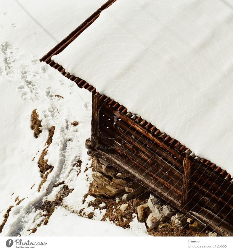 Hüttenzauber Holz Winter kalt Vogelperspektive braun weiß verfallen Schweiz Schnee Bergidylle Berge u. Gebirge Sennhütte Alm