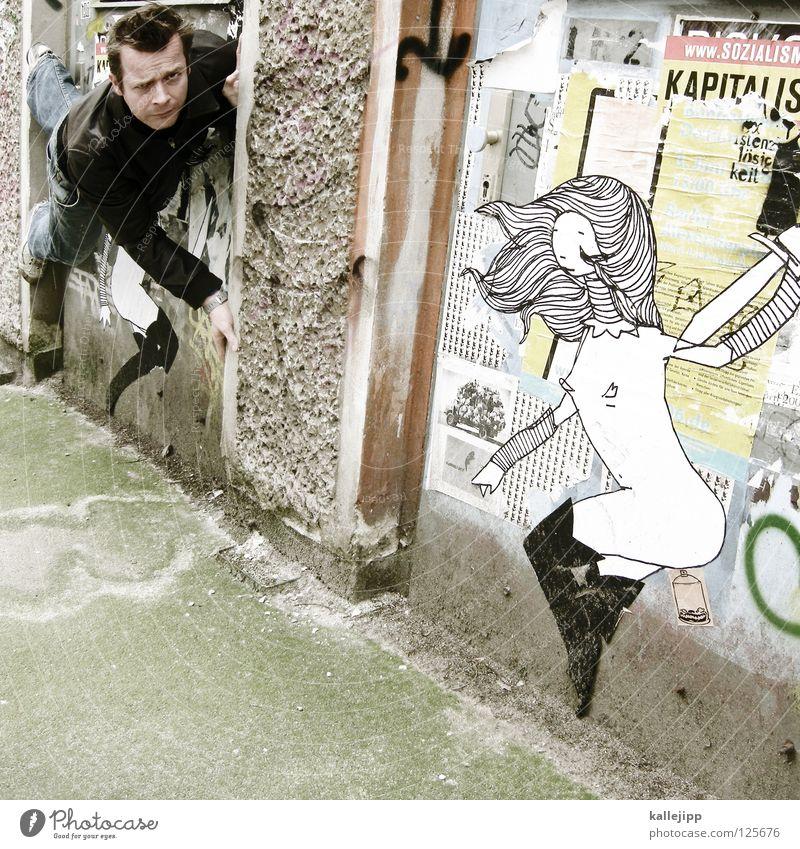 abgelenkt Frau Mann Silhouette Dieb Krimineller Rampe Laderampe Fußgänger Schacht Tunnel Untergrund Ausbruch Flucht umfallen Fenster Parkhaus Geometrie