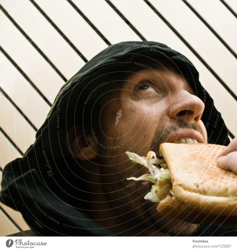 Mit Alles ohne Zwiebel !! Mann Bart Finger Brot Nasenloch Kapuze Saucen Kebab Türkei Lammfleisch lecker Mittag Streifen Froschperspektive Ernährung gelb schwarz