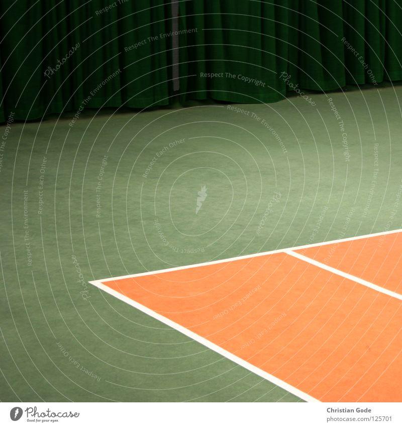 Doppelfeldecke mit Vorhang weiß grün Winter Sport Spielen springen Linie orange Freizeit & Hobby Geschwindigkeit Ball Netz Lagerhalle Teppich Tennis