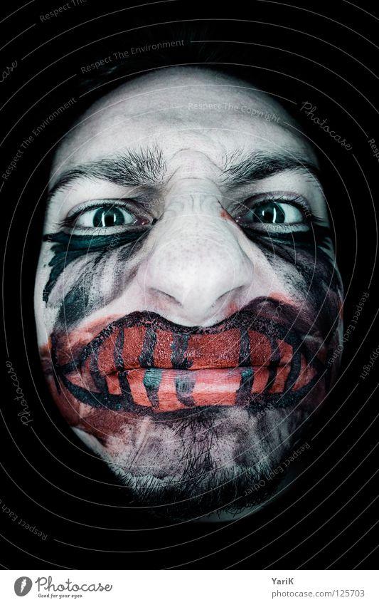 kussmund blau grün rot schwarz Gesicht Auge dunkel grau lachen Traurigkeit Fischauge Angst Kosmetik Mund Nase Trauer