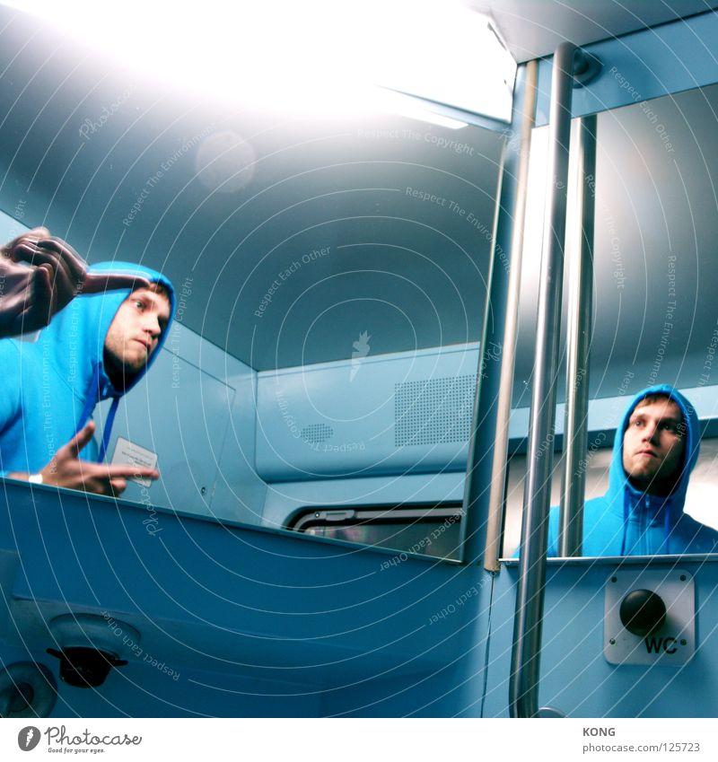 traitors Hand blau Gesicht Angst Finger mehrere Vergänglichkeit Spiegel Wut Panik Neonlicht Ärger Doppelbelichtung Kapuze zeigen Hinweis