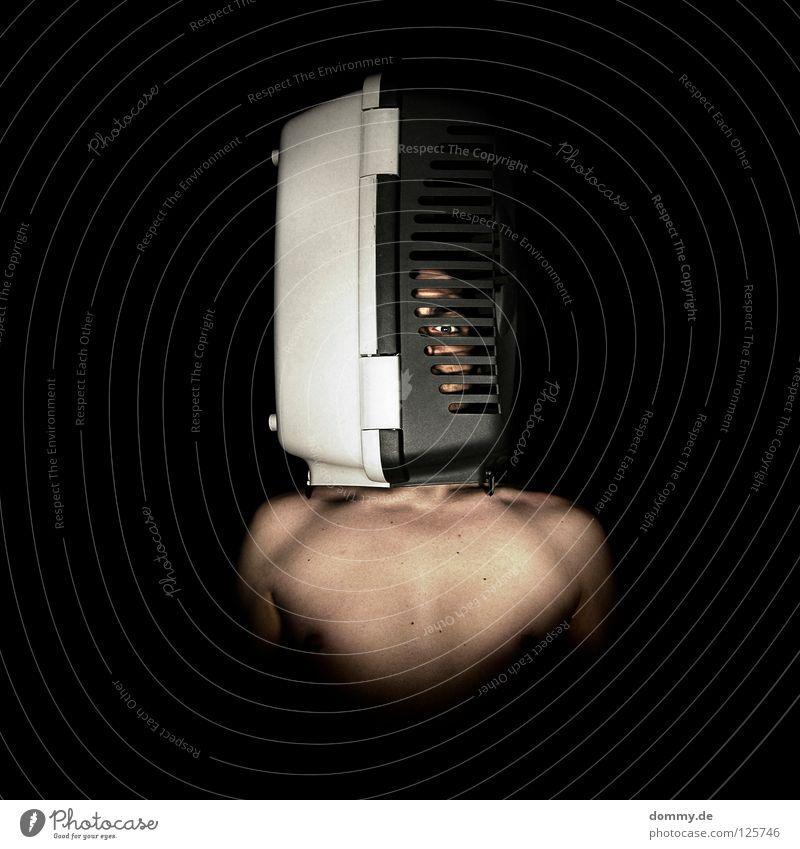 artgerechte haltung Mann Kerl Körperhaltung passend braun verdeckt nackt Schulter Käfig Tier Schlitz schwarz weiß gefangen geschlossen Maulkorb dunkel