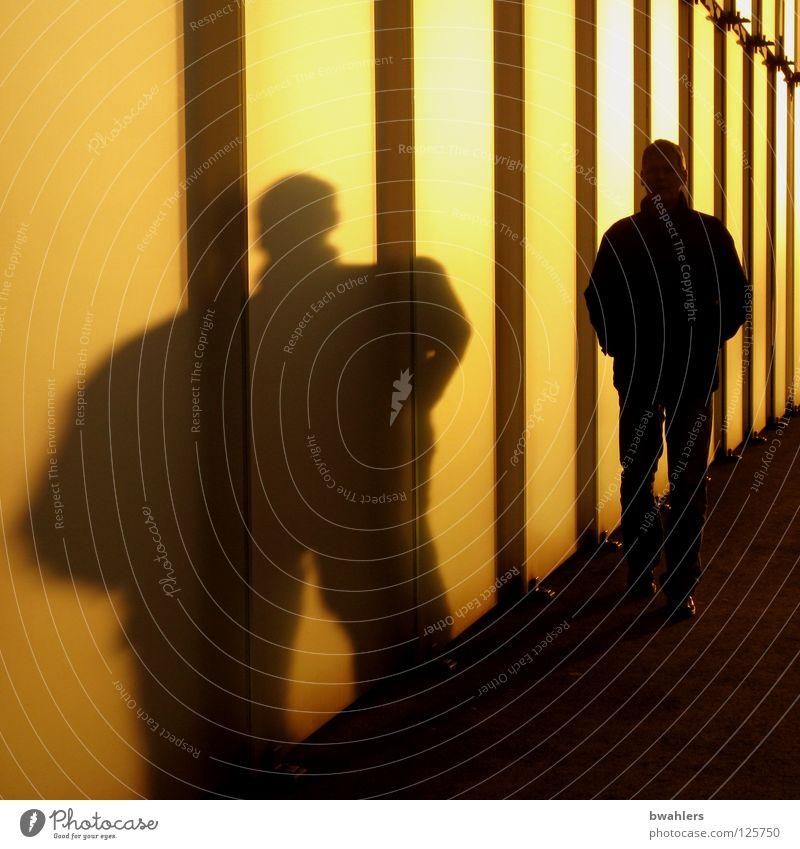 Schattenmann Mann gelb gehen Abendsonne Wand Beleuchtung Bregenz Gegenlicht modern Kunst Kultur orange Sonne Straße breit Glas Fensterscheibe