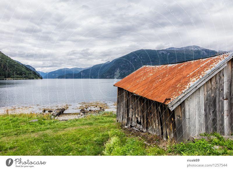 Bootsschuppen am Storfjord Natur Ferien & Urlaub & Reisen alt Wasser Erholung Wolken Berge u. Gebirge Gras Tourismus Idylle Norwegen Fjord Bootshaus