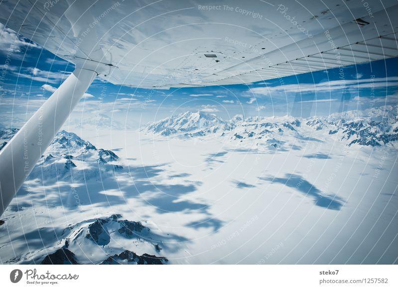 Gletscher-Land VIII Berge u. Gebirge Gipfel Schneebedeckte Gipfel im Flugzeug fliegen Unendlichkeit kalt blau weiß Einsamkeit Horizont Ferne Yukon