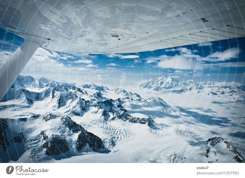 Gletscher-Land VII Berge u. Gebirge Gipfel Schneebedeckte Gipfel im Flugzeug fliegen frei gigantisch Unendlichkeit kalt blau weiß Einsamkeit Horizont Ferne