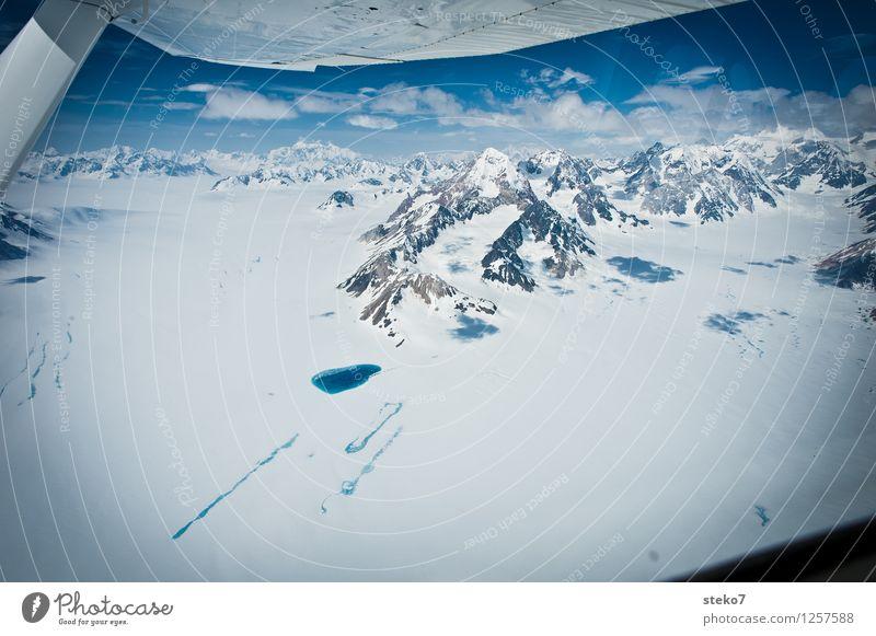 Gletscher-Land X blau weiß Einsamkeit Ferne kalt Berge u. Gebirge fliegen See einzigartig Schneebedeckte Gipfel Gletscher gigantisch Alaska Tragflächenspitze