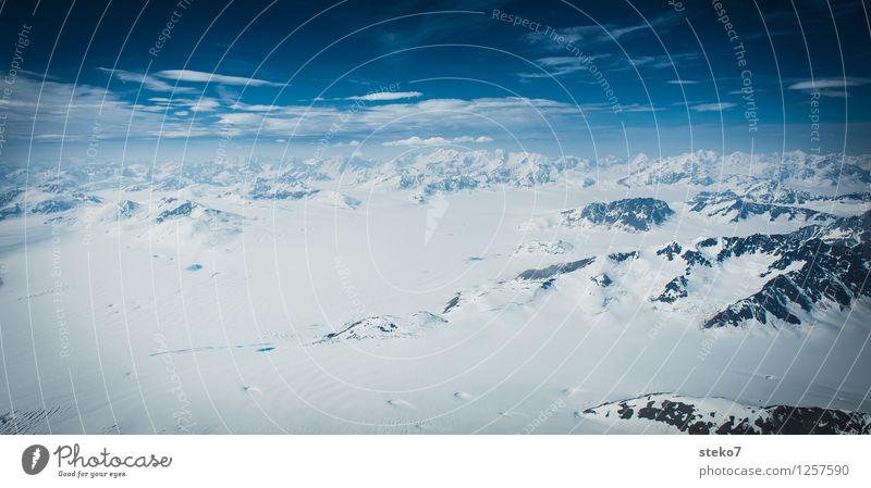 Gletscher-Land XI blau weiß Einsamkeit Ferne Winter kalt Berge u. Gebirge Schnee Horizont Eis Unendlichkeit Frost Schneebedeckte Gipfel gigantisch Alaska