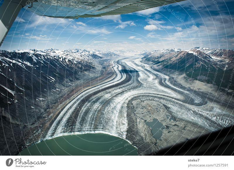 Gletscher Highway III Berge u. Gebirge Küste im Flugzeug fliegen ästhetisch außergewöhnlich Unendlichkeit kalt Einsamkeit einzigartig Symmetrie Wege & Pfade