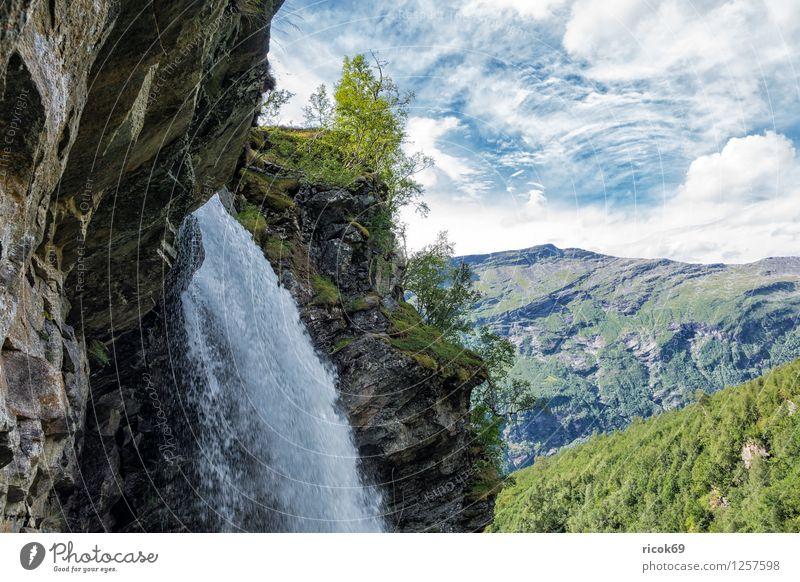 Blick auf den Storseterfossen Erholung Ferien & Urlaub & Reisen Berge u. Gebirge Natur Landschaft Wasser Wolken Baum Wald Wasserfall Idylle Tourismus