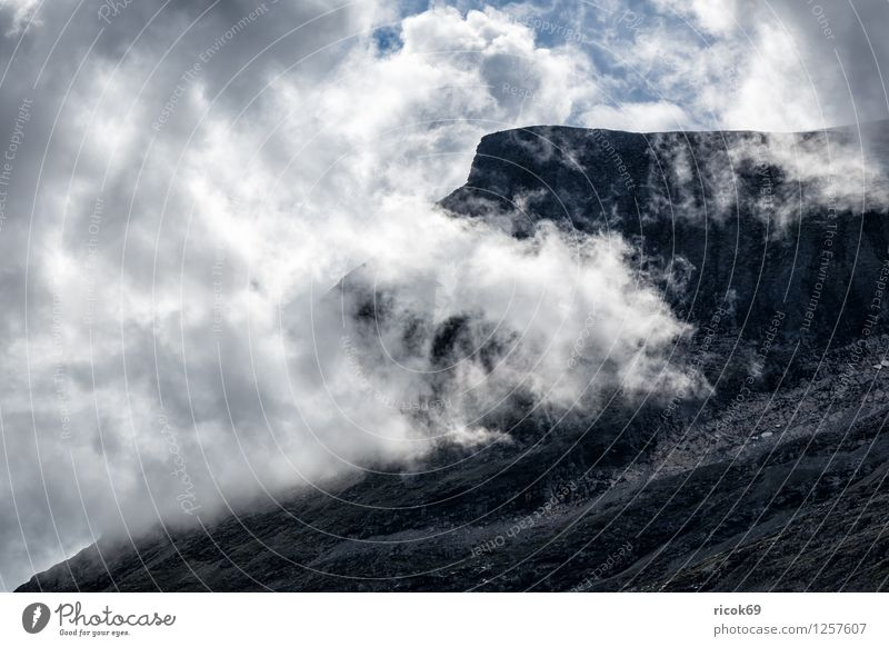Berg mit Wolken Erholung Ferien & Urlaub & Reisen Sonne Berge u. Gebirge Natur Landschaft Idylle Tourismus Norwegen Møre og Romsdal Reiseziel Himmel