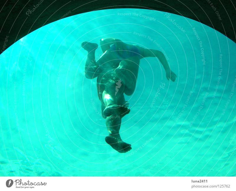 Beobachter unter Wasser Schwimmbad türkis unten Schwimmsportler Bullauge Wellen Wassersport Spielen blau Unterwasseraufnahme Mensch Beine Arme Fuß beobachten
