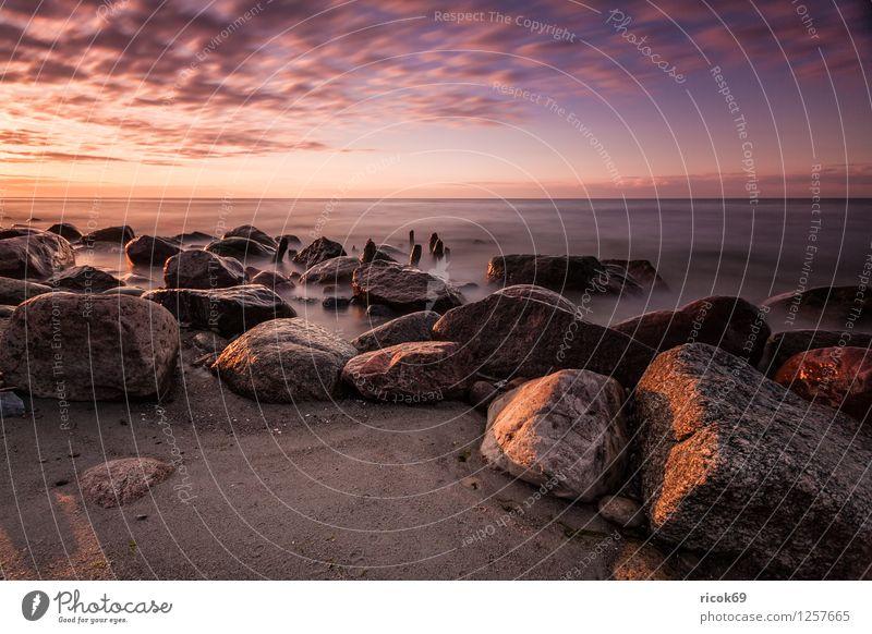 Steine an der Ostsee Erholung Ferien & Urlaub & Reisen Strand Meer Landschaft Wasser Felsen Küste Romantik Idylle Natur Sonnenuntergang Buhne