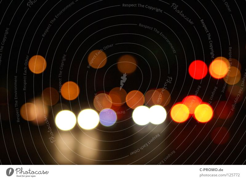 Urban blur night lights III rot Farbe gelb träumen PKW orange Hintergrundbild Verkehrswege Ampel Straßenverkehr Leuchtreklame Lichtpunkt