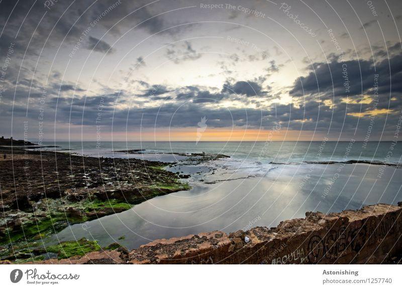 after sunset Umwelt Natur Landschaft Pflanze Wasser Himmel Wolken Horizont Sonnenaufgang Sonnenuntergang Sommer Wetter Schönes Wetter Felsen Wellen Küste Meer