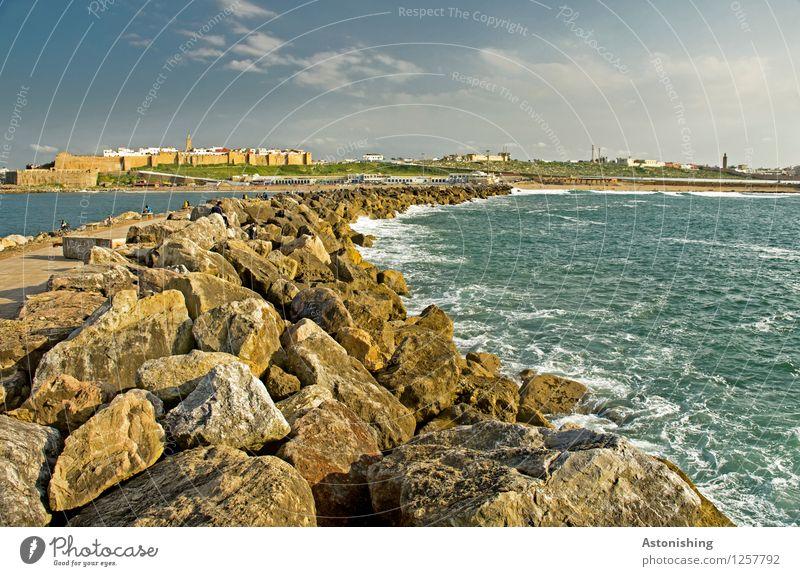 die Kurve nach Rabat Umwelt Natur Landschaft Himmel Wolken Sommer Wetter Schönes Wetter Pflanze Felsen Wellen Küste Meer Atlantik Marokko Stadt Hauptstadt