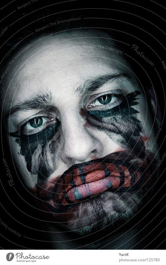 schmollmund blau grün rot schwarz Gesicht Auge dunkel grau lachen Traurigkeit Angst Mund Nase Trauer Bad Filmindustrie