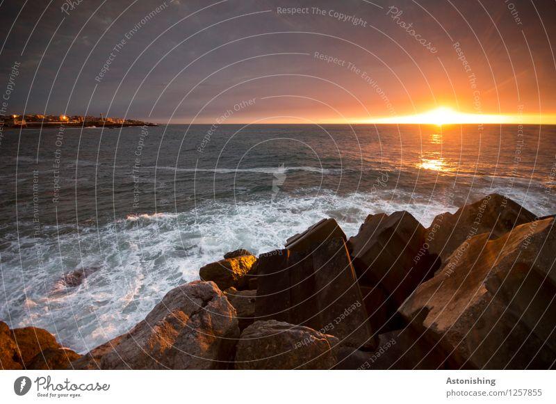 der Moment Umwelt Natur Landschaft Pflanze Wasser Sonne Sonnenaufgang Sonnenuntergang Sonnenlicht Sommer Wetter Schönes Wetter Felsen Wellen Küste Meer Atlantik