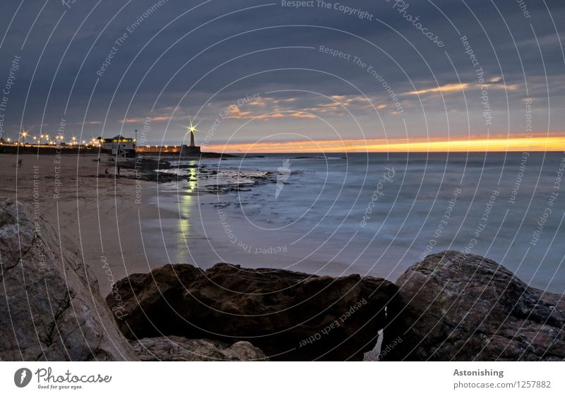 das letzte Licht Umwelt Natur Landschaft Sand Wasser Himmel Wolken Nachthimmel Horizont Sonnenaufgang Sonnenuntergang Sommer Felsen Wellen Küste Meer Atlantik