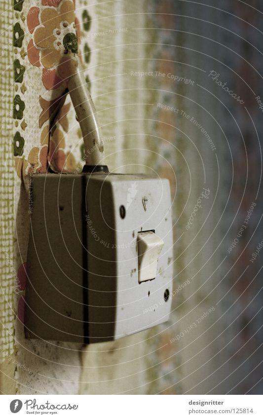 offensichtlich alt Blume Wand Zeit Lampe Häusliches Leben Energiewirtschaft modern Elektrizität kaputt einfach Kabel Vergangenheit verstecken Handwerk Tapete