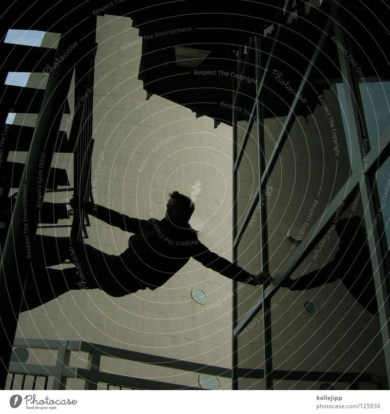 stepssurfer Mann Silhouette Dieb Krimineller Rampe Laderampe Fußgänger Schacht Tunnel Untergrund Ausbruch Flucht umfallen Fenster Parkhaus Geometrie Gegenlicht