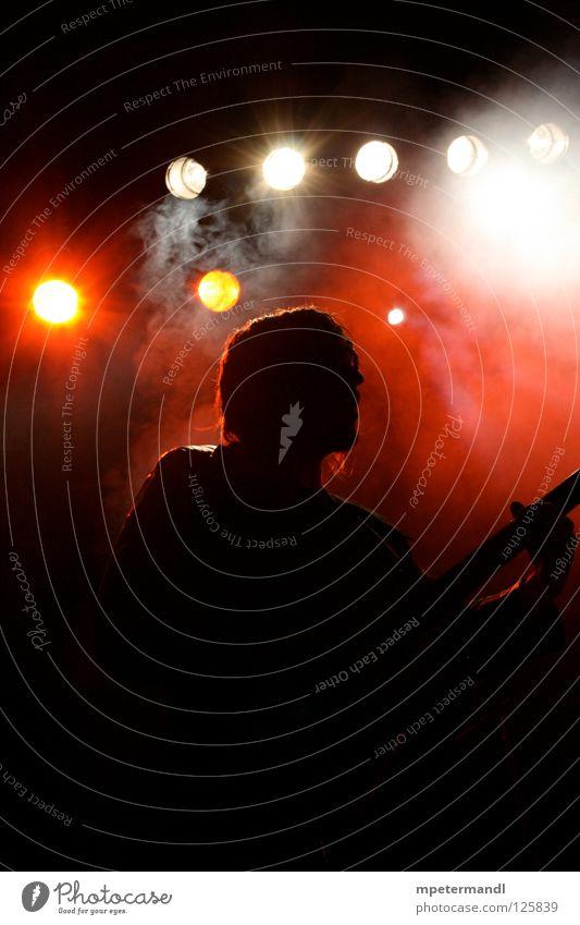bass Low Key live Musik Veranstaltung Popmusik Konzert Kontrabass guitar red white Schnur Kunst black Silhouette musician Rockmusik fog concert
