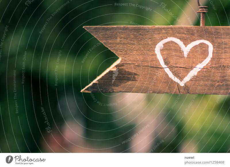 Zum Herzen Valentinstag Hochzeit Holz Zeichen Pfeil Liebe alt braun grün Frühlingsgefühle Verliebtheit Romantik Beginn Idylle Farbfoto Außenaufnahme