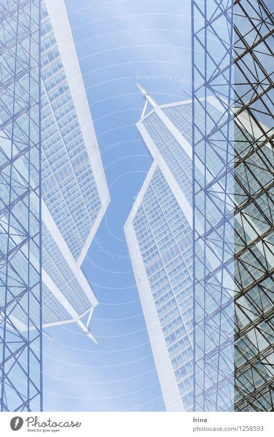ihr spinnt doch.. Stadt blau grau außergewöhnlich oben Business Büro Wachstum Ordnung modern Hochhaus Erfolg Perspektive hoch Macht Geldinstitut