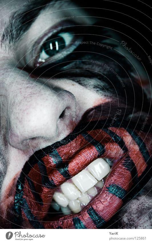 anschnitt dunkel gruselig Bad böse flau Gesichtsbemalung Schminken geschminkt rot grau schwarz zyan grün mehrfarbig Trauer Angst hässlich Zirkus Bösewicht