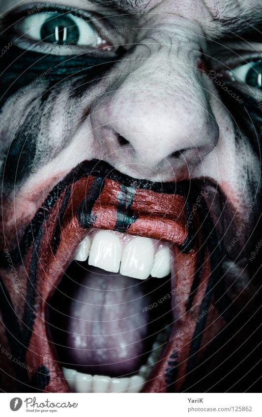 ausschnitt dunkel gruselig Bad böse flau Gesichtsbemalung Schminken geschminkt rot grau schwarz zyan grün mehrfarbig Trauer Angst hässlich Zirkus Bösewicht