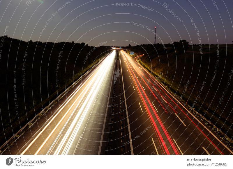 A9 bindlacher berg weiß rot Straße Wege & Pfade träumen PKW trist Verkehr Technik & Technologie Streifen Güterverkehr & Logistik Ziel fahren Verkehrswege