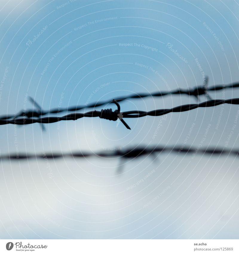 Abgrenzungen Himmel blau springen Freiheit Frieden Grenze Zaun Barriere Stacheldraht