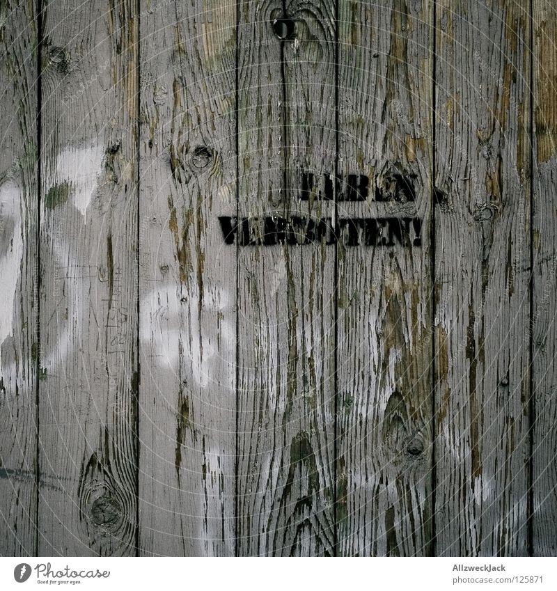 leben verboten Verbote Wand Holz grau Stil Design Befehl Widerspruch Tabu Vorschrift Zauberei u. Magie sprühen Buchstaben Schriftzeichen Graffiti Wandmalereien