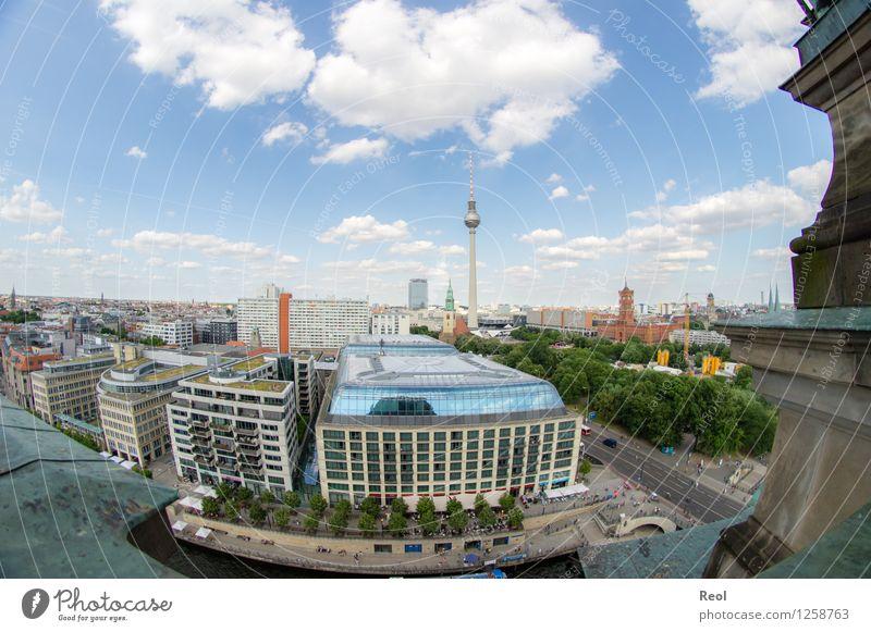 Berlin Umwelt Natur Himmel Wolken Sommer Schönes Wetter Deutschland Stadt Hauptstadt Stadtzentrum Skyline bevölkert Haus Bauwerk Gebäude Berliner Fernsehturm