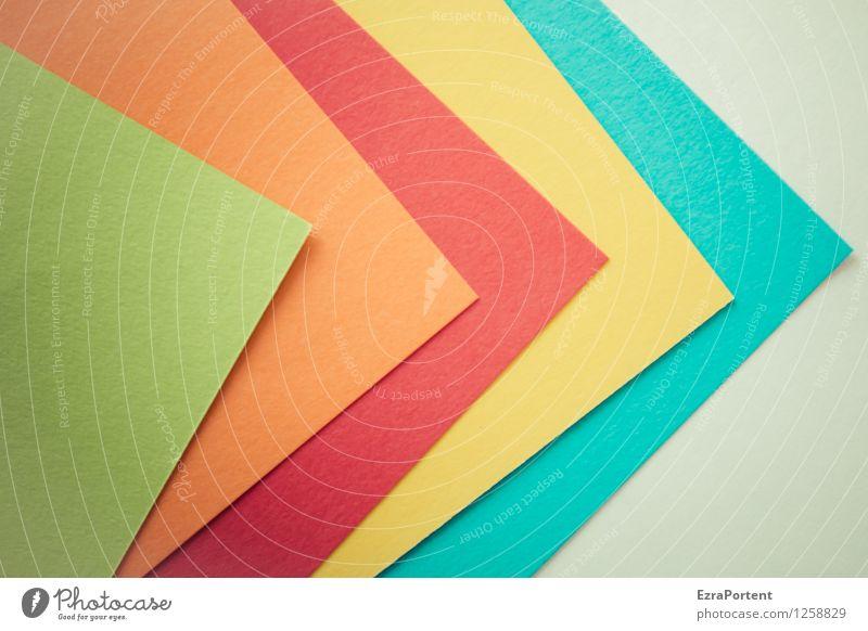 5 Blatt Stil Design Freizeit & Hobby Basteln Linie Pfeil ästhetisch hell blau mehrfarbig gelb grün orange rot türkis weiß Farbe Strukturen & Formen Spitze