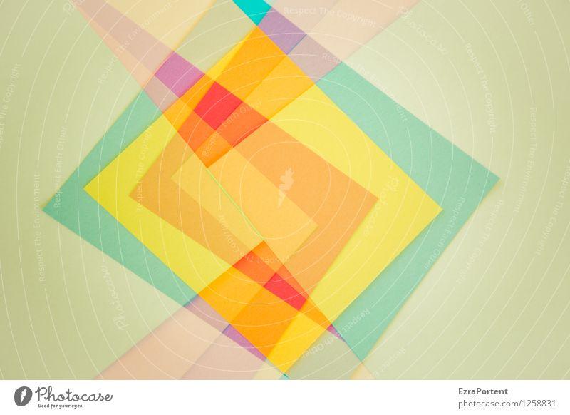 es bleibt eckig elegant Stil Design Freizeit & Hobby Spielen Basteln Linie ästhetisch blau mehrfarbig gelb orange rot türkis Farbe Doppelbelichtung Papier