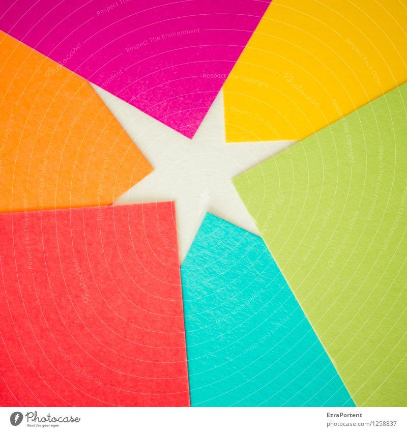 Sternchen blau grün Farbe weiß rot gelb Stil Spielen Linie orange Design Freizeit & Hobby elegant ästhetisch Spitze Stern (Symbol)