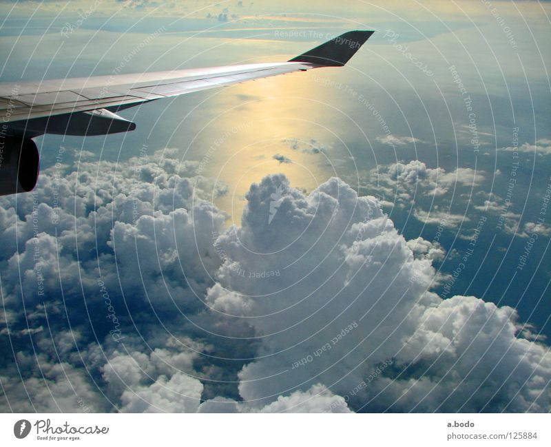 Wolkenspiel Flugzeug Thailand Asien Meer Luft Triebwerke Himmel qantas Flügel wing air Sonne Wasser